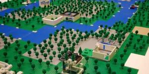 Ville Lego, placée sur un plan de travail V-korr