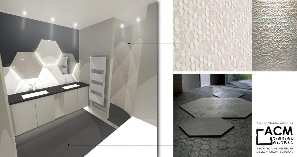 Habillage de salle de bains avec écailles en V-korr