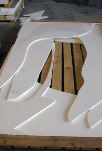 Pièces obtenues suite à la découpe du Solid Surface via Jet d'Eau