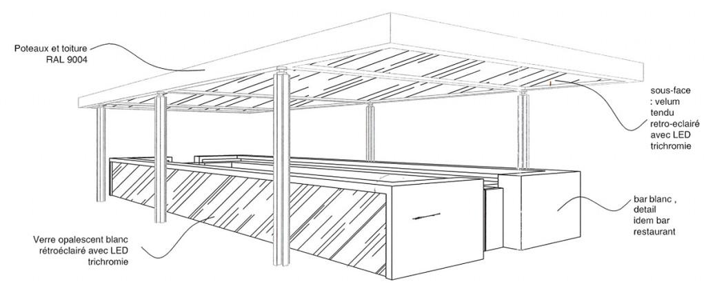 Plan de la réalisation du bar extérieur. Architecte : Laurent Maugoust