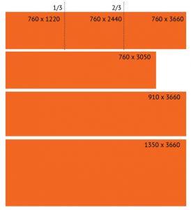 Différents formats de panneaux pour le coloris Solid Surface 001 - Bright White